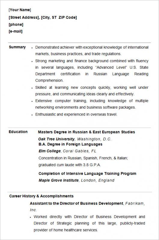 College Resume Format Template Business - how to format a college resume