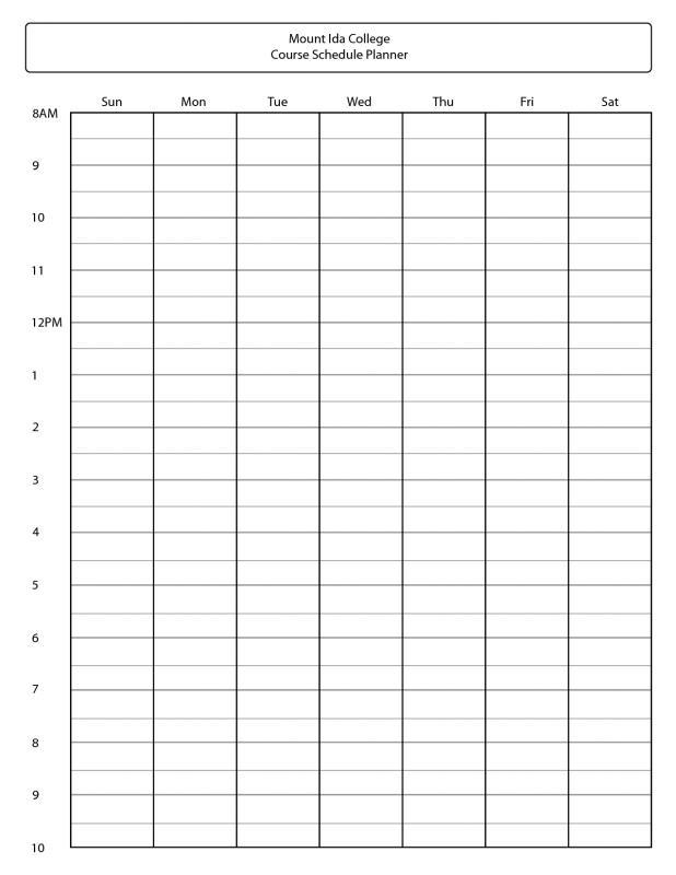 Top Plan College Schedule Course Planner Template Calendar