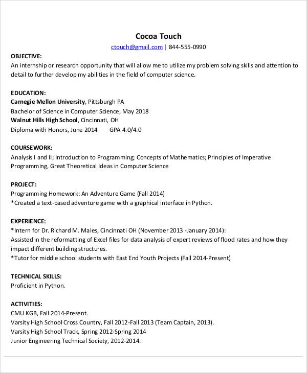 Computer Science Internship Resume Template Business - resume for computer science