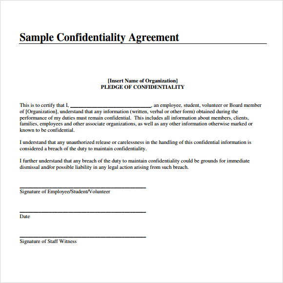 Confidentiality Agreement Samples Template Business