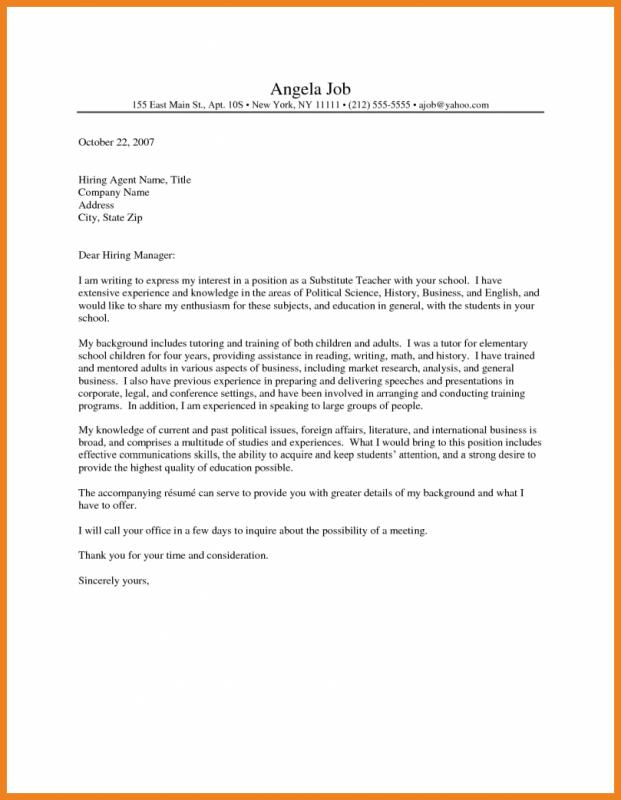 Cover Letter For Substitute Teacher Template Business