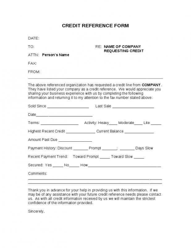 Credit Reference Form Template Business