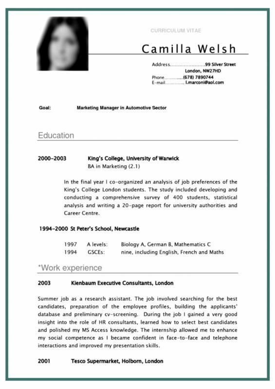 Curriculum Vitae Template Student Template Business