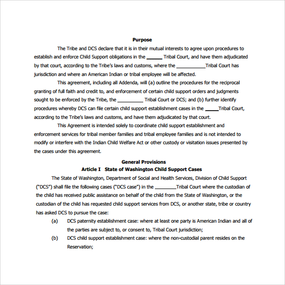 Custody Agreement Templates Template Business
