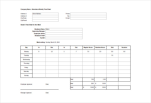 Daily Attendance Sheet Template Business