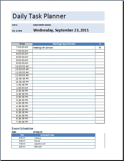 Daily Planner Template Excel Template Business - day planner template