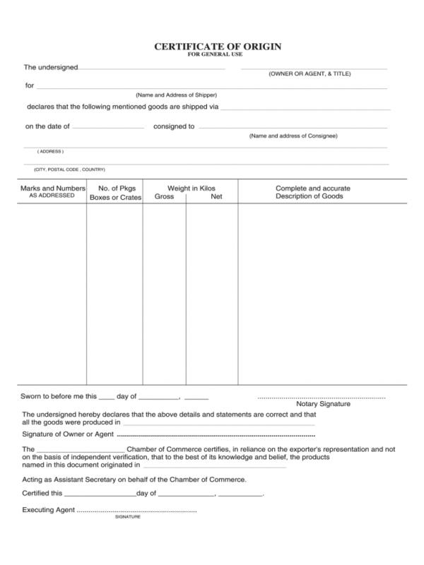 business certificate of origin novaondafm - Certificate Of Origin Forms