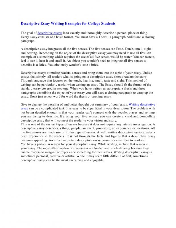 Descriptive Essay Example Template Business