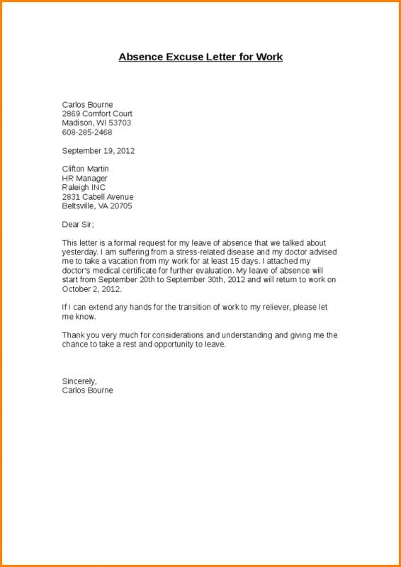 Court Excuse Letter For Work Good Resume Format - Newletterjdi