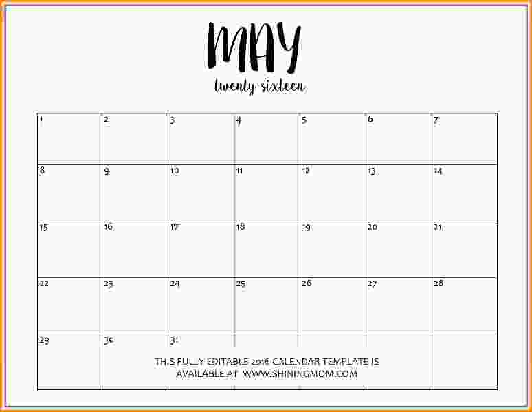 Editable Calendar Template Template Business