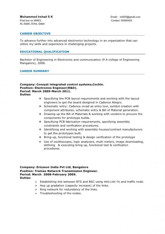 Electronic Technician Resume Template Business