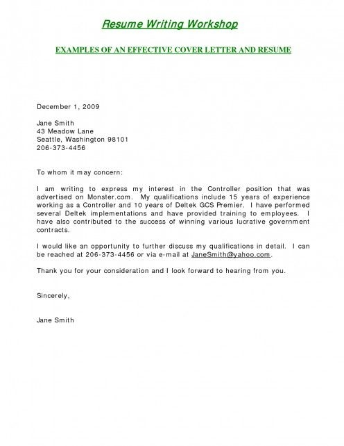 Email Cover Letter Example Template Business