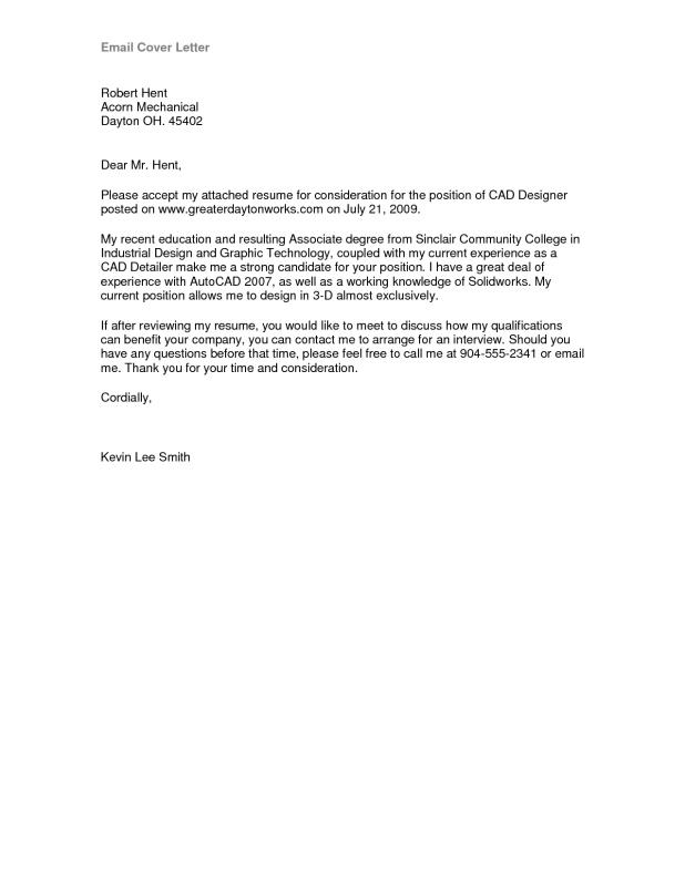 Email Cover Letter Sample Template Business - emailing a resume and cover letter