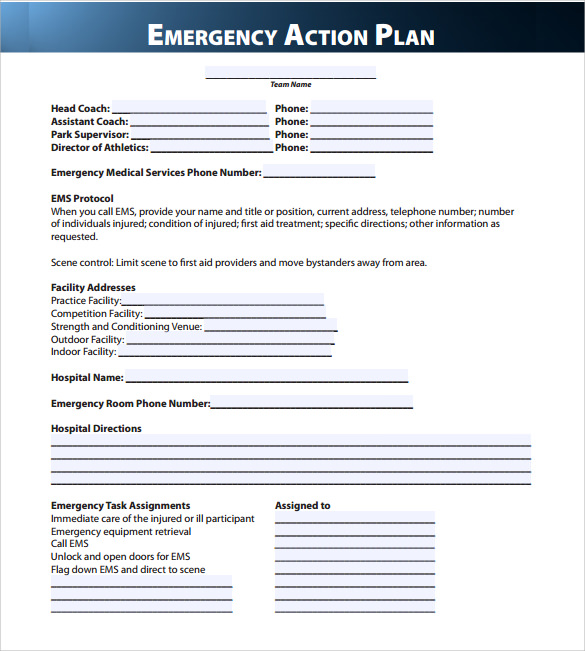 Emergency Action Plan Template Template Business - action plan templete
