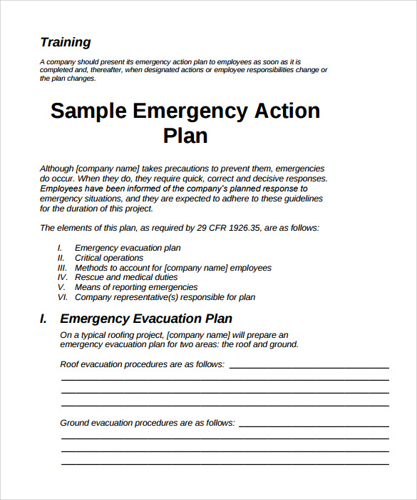 Emergency Action Plans Examples Template Business