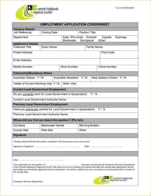 sample employment application forms - Intoanysearch