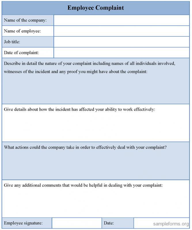 Employee Complaint Form Template Business