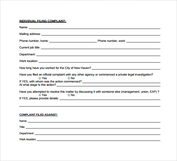 Employee Complaint Form Employee Complaint Form Template Word