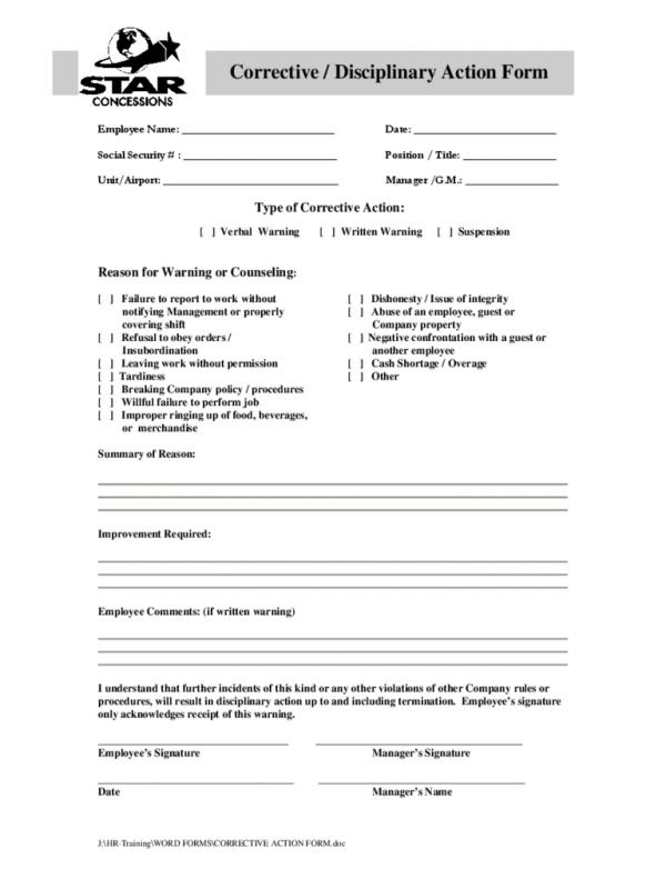 Employee Disciplinary Action Form Template Business