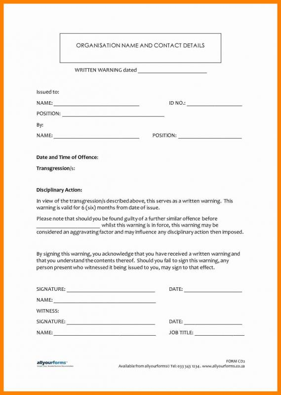 Employee Disciplinary Action Form Template Business - writing warning letter for employee conduct