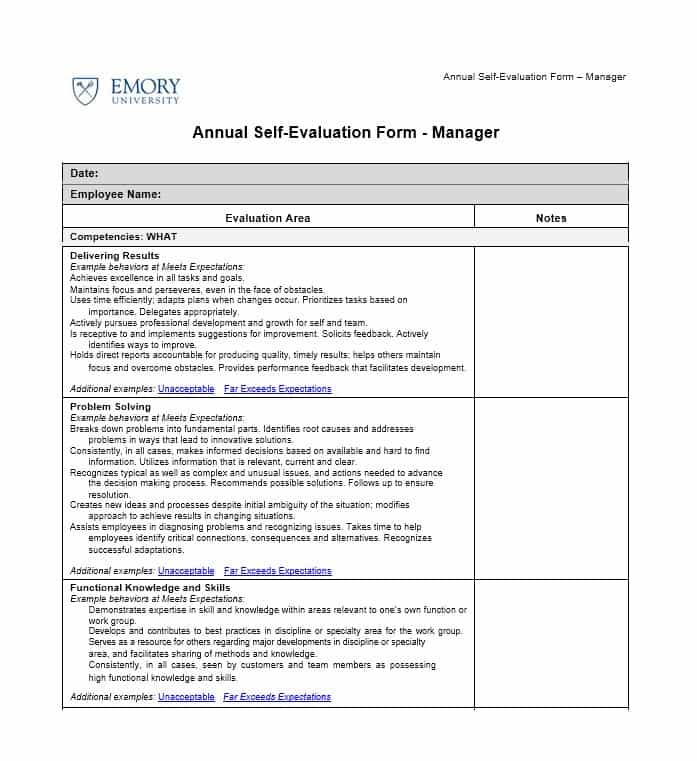 Employee Evaluation Samples Template Business