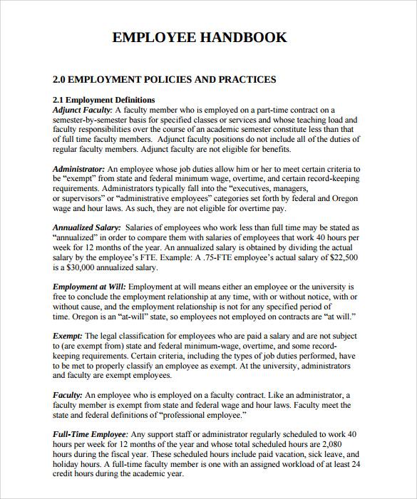 Employee Handbook Examples Template Business