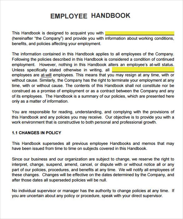 free employees handbook - Boatjeremyeaton - Employee Manual Template