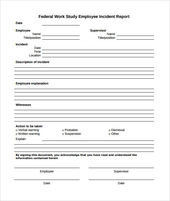 Employee Incident Report Template Business
