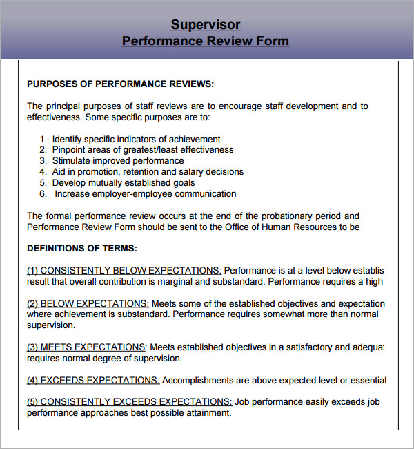 Employee Performance Evaluation Samples Template Business