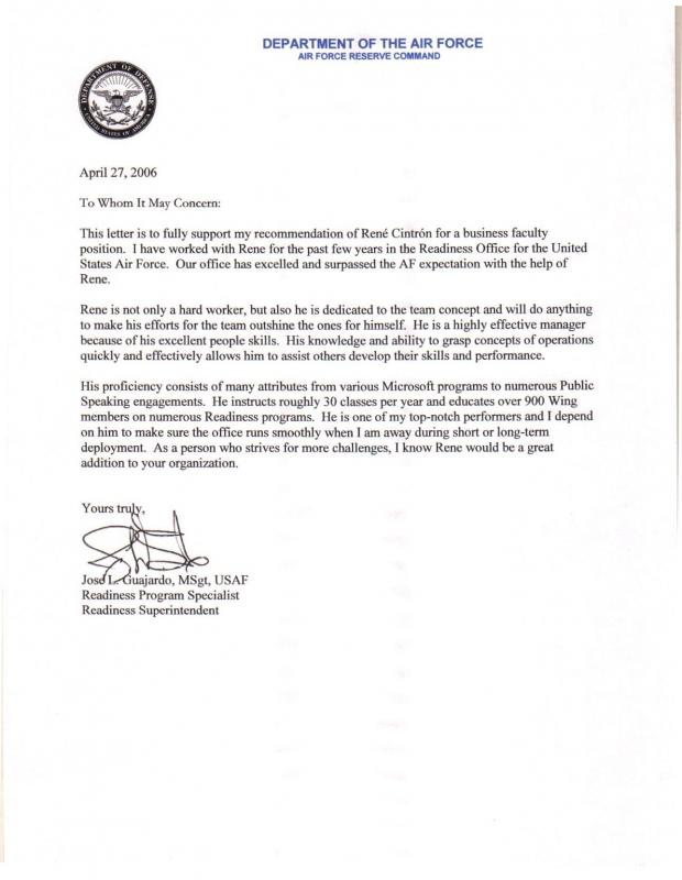 Employee Recommendation Letter Template Business - air force letter of recommendation