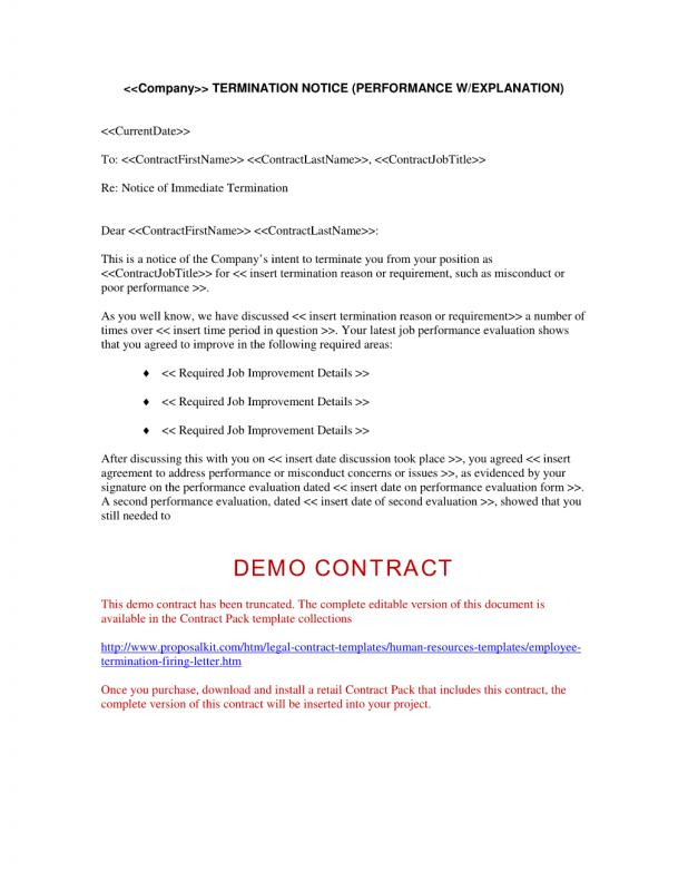 Employee Termination Letter Template Business - performance evaluation letter