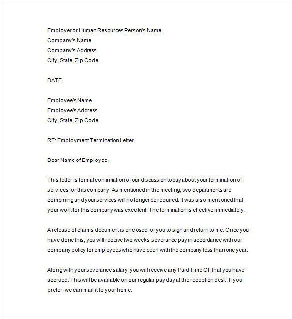 Employee Termination Template Template Business