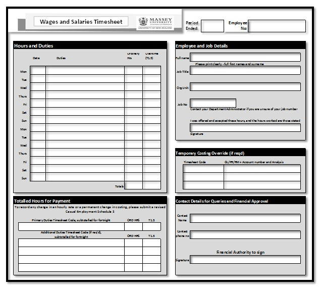 Employee Timesheet Template Template Business