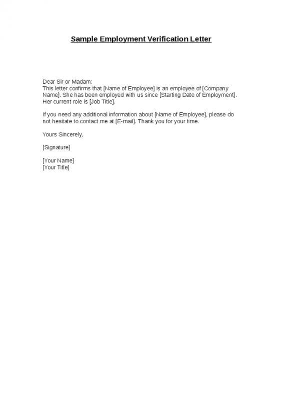Employee Verification Letter Template Business - previous employment verification letter