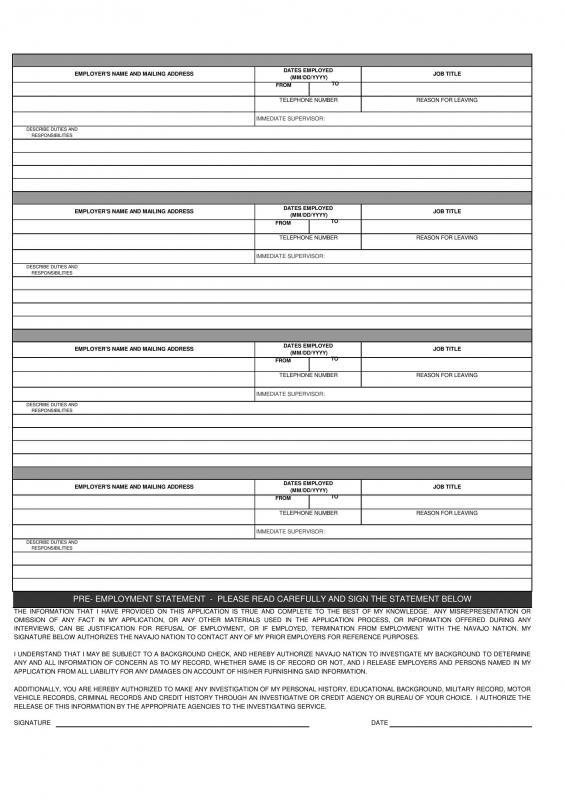 Employment Application Form Pdf Template Business