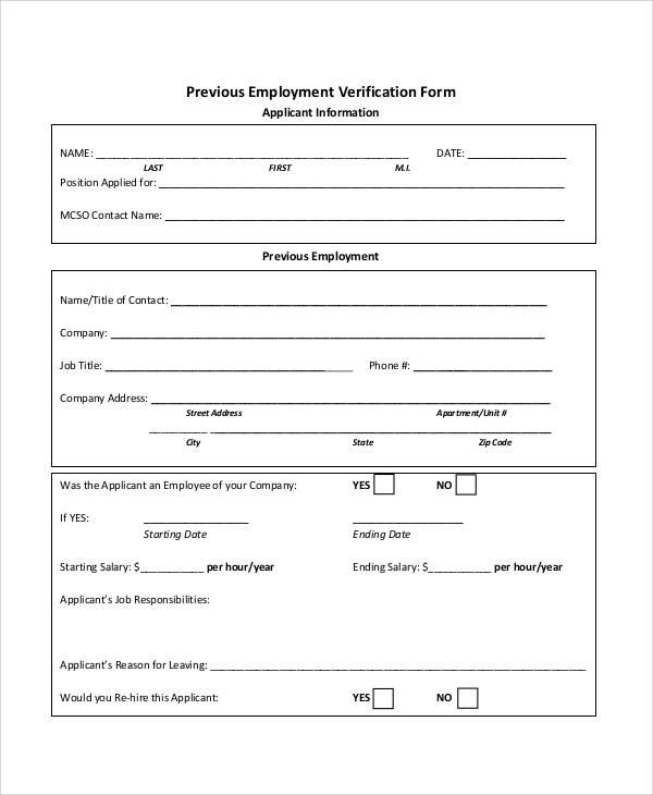 Employment Verification Form Template Business - landlord employment verification form