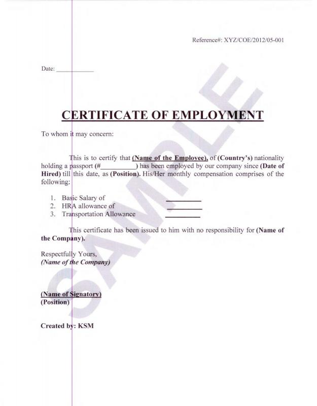Employment Verification Letter For Visa Template Business - Job Verification Letter