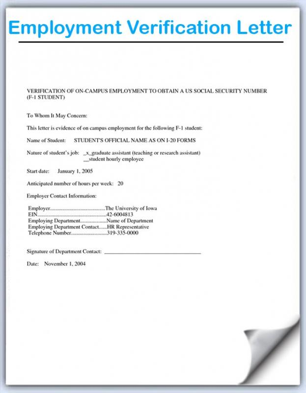 Employment Verification Letter Template Template Business