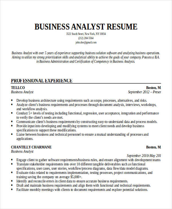 Entry Level Business Analyst Resume Template Business - business analyst skills resume