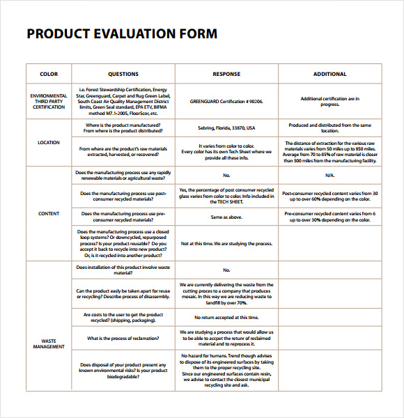 Evaluation Form Template Template Business - product evaluation template
