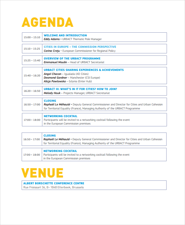 Event Itinerary Template Template Business