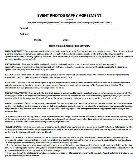 Event Planner Contract Template Business