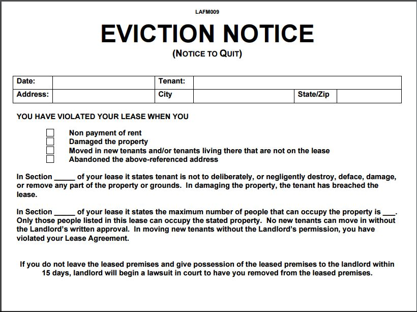 Free Printable Eviction Notice Template Choice Image - Template - free printable eviction notice template