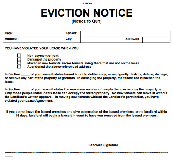 Eviction Notice Texas Template Business - landlord eviction notice letter