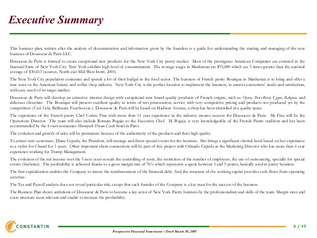 Example Executive Summary Template Business - executive summary of a business plan
