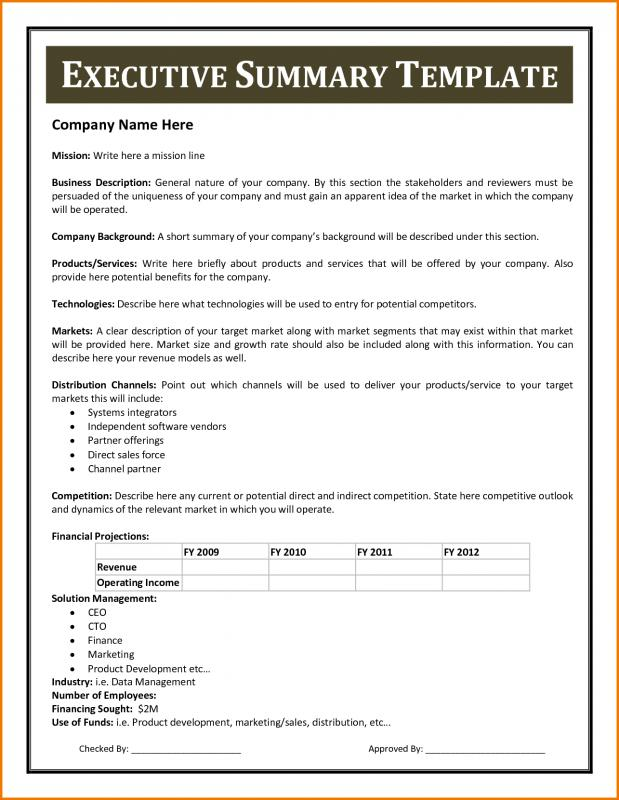 Example Of An Executive Summary Template Business - an executive summary