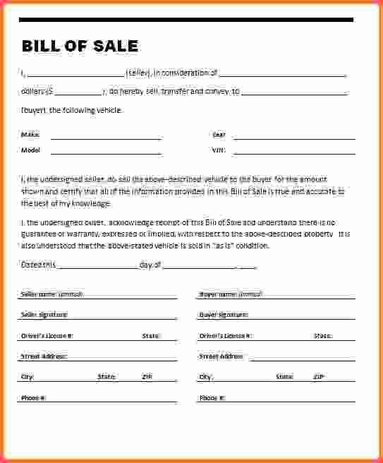 √ blank bill of sale for car illinois Archives