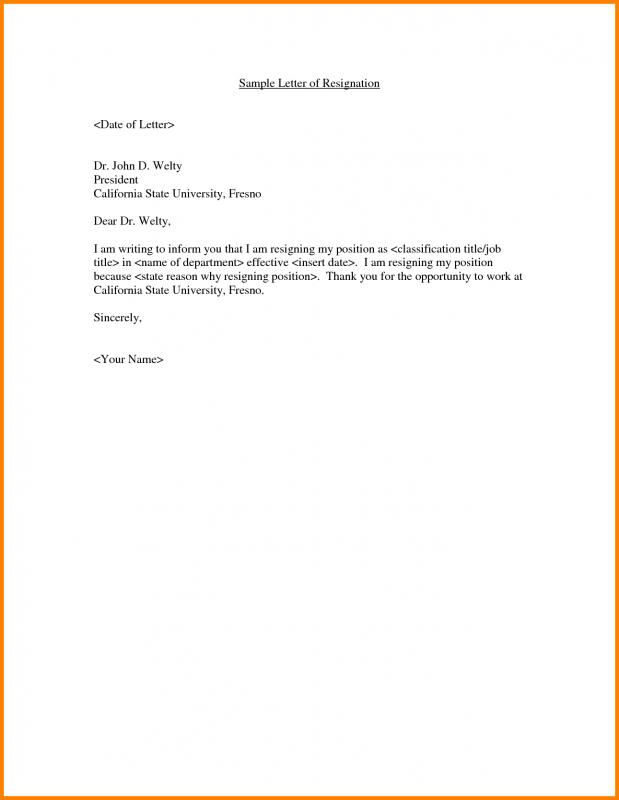 Example Resignation Letter Template Business - example of resignation letters