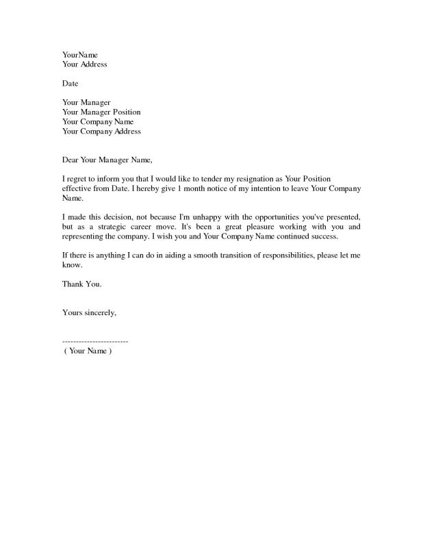 Example Resignation Letter Template Business - Example Letters Of Resignation