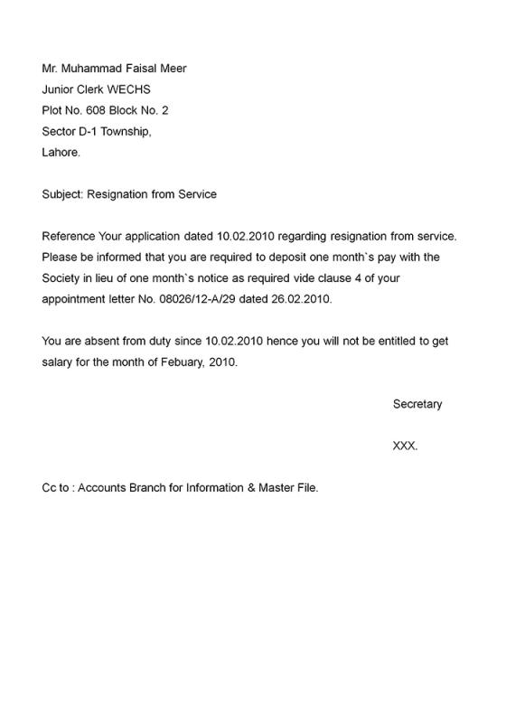 Example Resignation Letter Template Business - letter of resignation examples